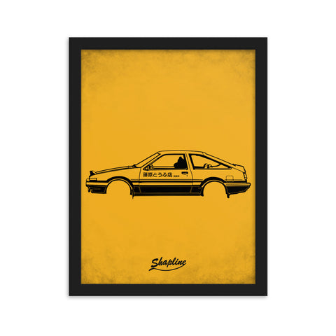 Framed poster Toyota AE86 orange