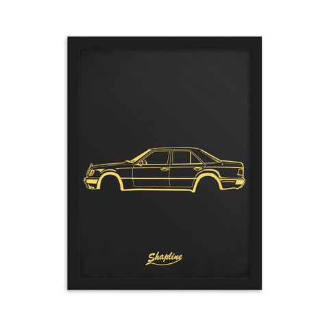 Framed poster Mercedes W124 dark gray