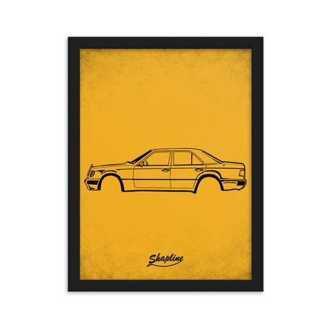 Framed poster Mercedes W124 orange
