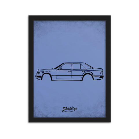 Framed poster Mercedes W124 azure blue