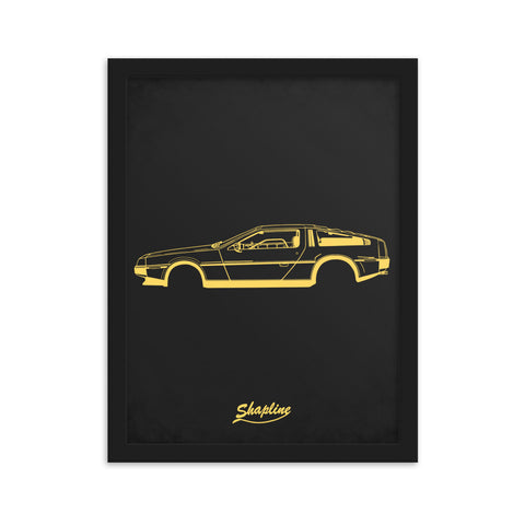 Framed poster Delorean DMC-12 dark gray