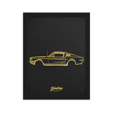 Framed poster Ford mustang 68 dark gray
