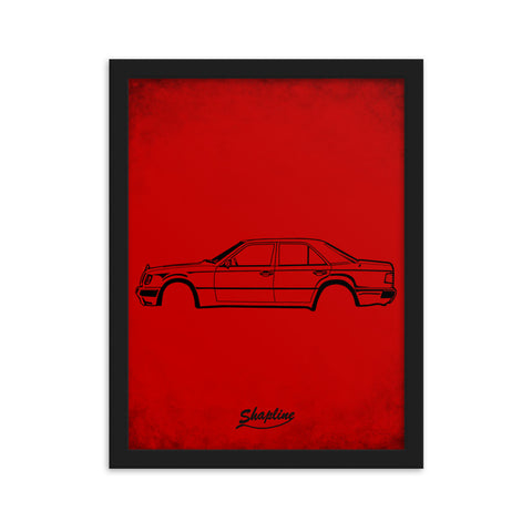 Framed poster Mercedes W124 red