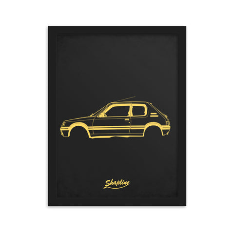 Framed poster Peugeot 205 light grey