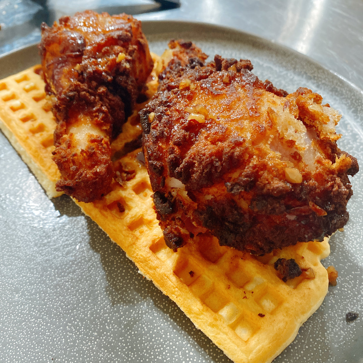 Toasted Pecan Fried Chicken & Waffles
