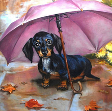Load image into Gallery viewer, Dog & Umbrella Diamond Painting