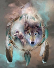 Load image into Gallery viewer, Dream Catcher Wolves Diamond Painting