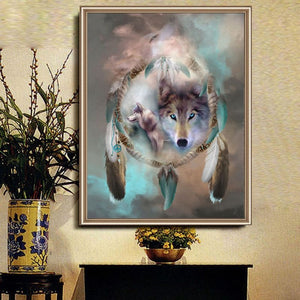 Dream Catcher Wolves Diamond Painting