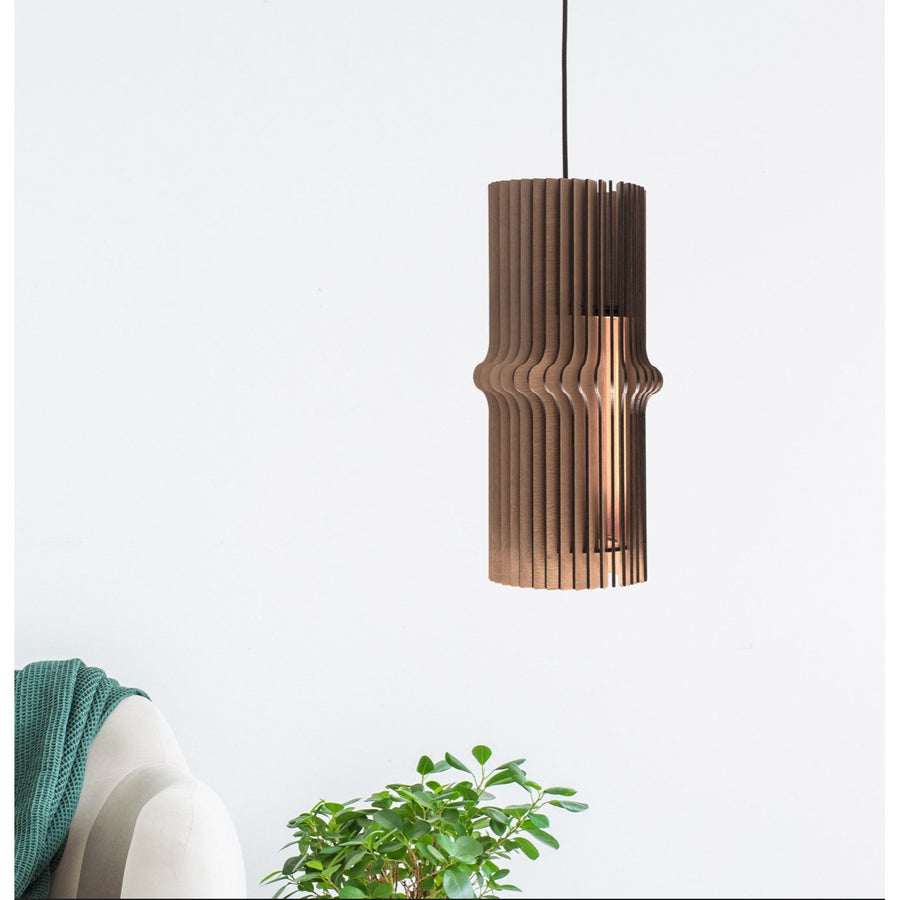 Wood pendant modern dining room living room shade