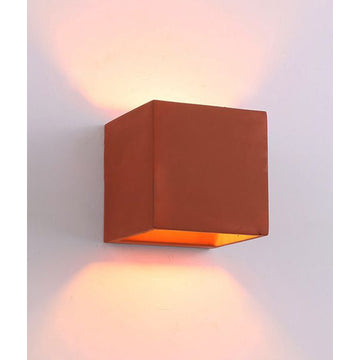 Cube LED Wall Light | Red Brick