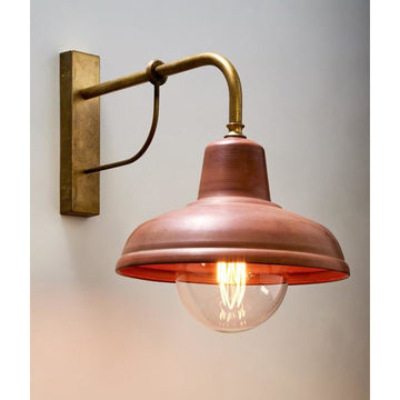 Solid copper brass vintage industrial wall light
