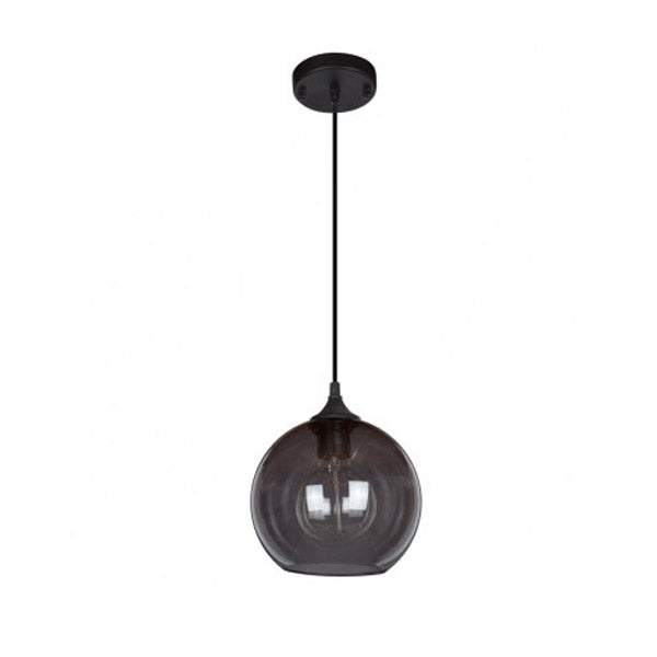 Smokey Grey Glass Globe Pendant Light