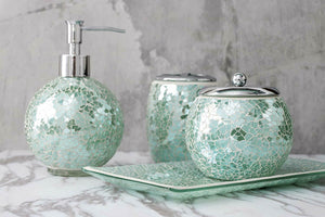 Bathroom Accessories Set 4 Piece Glass Mosaic Bath Accessory Turquois Home And Time