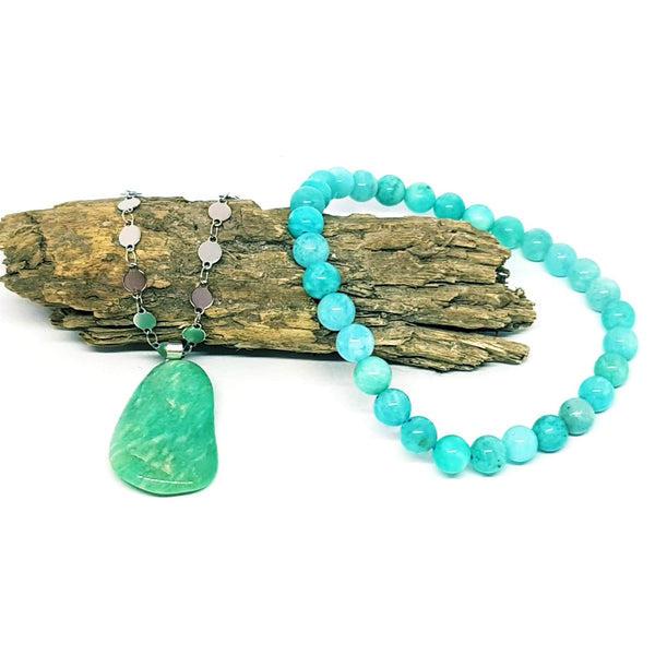 "Duo pierre Amazonite ""Tendresse"""
