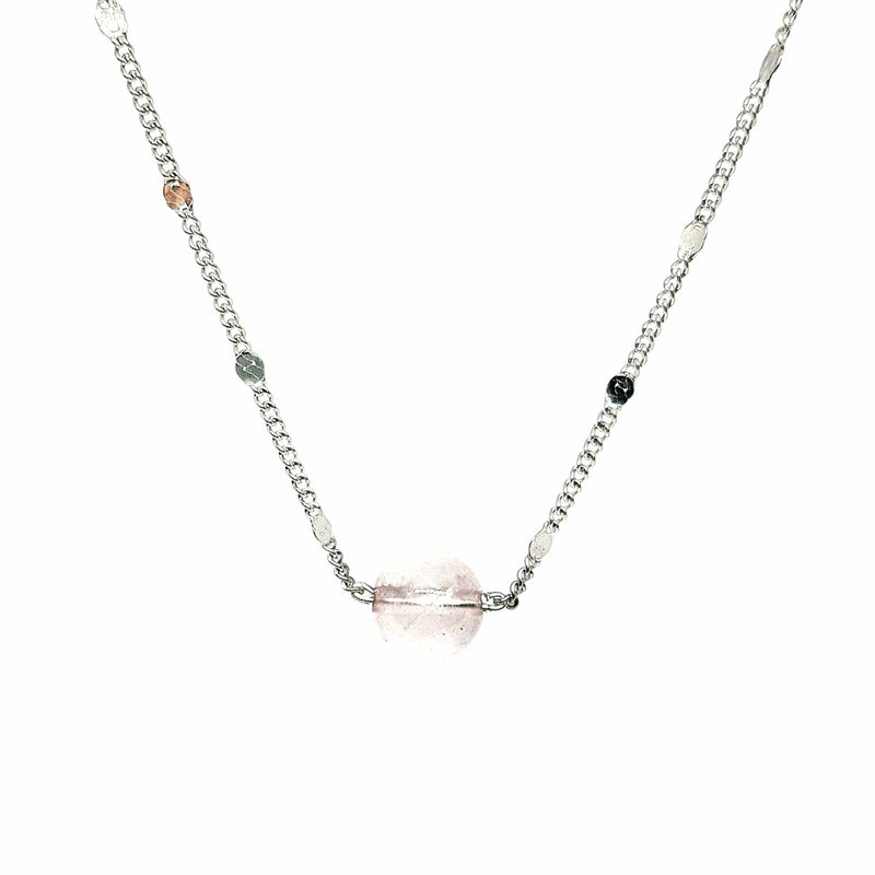 collier solitaire quartz rose