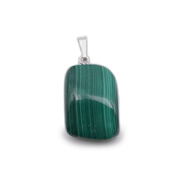 collier pierre roulée malachite