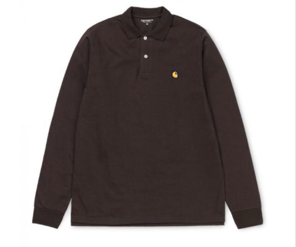 CARHARTT CHASE POLO LS - BROWN