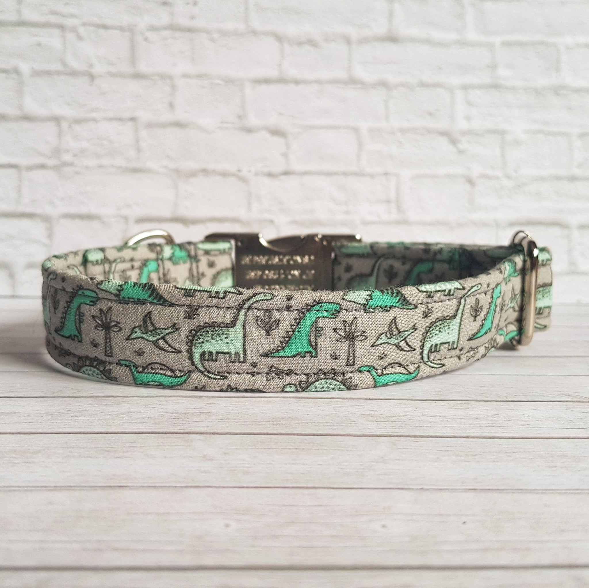 Green Dinosaur Dog Collar