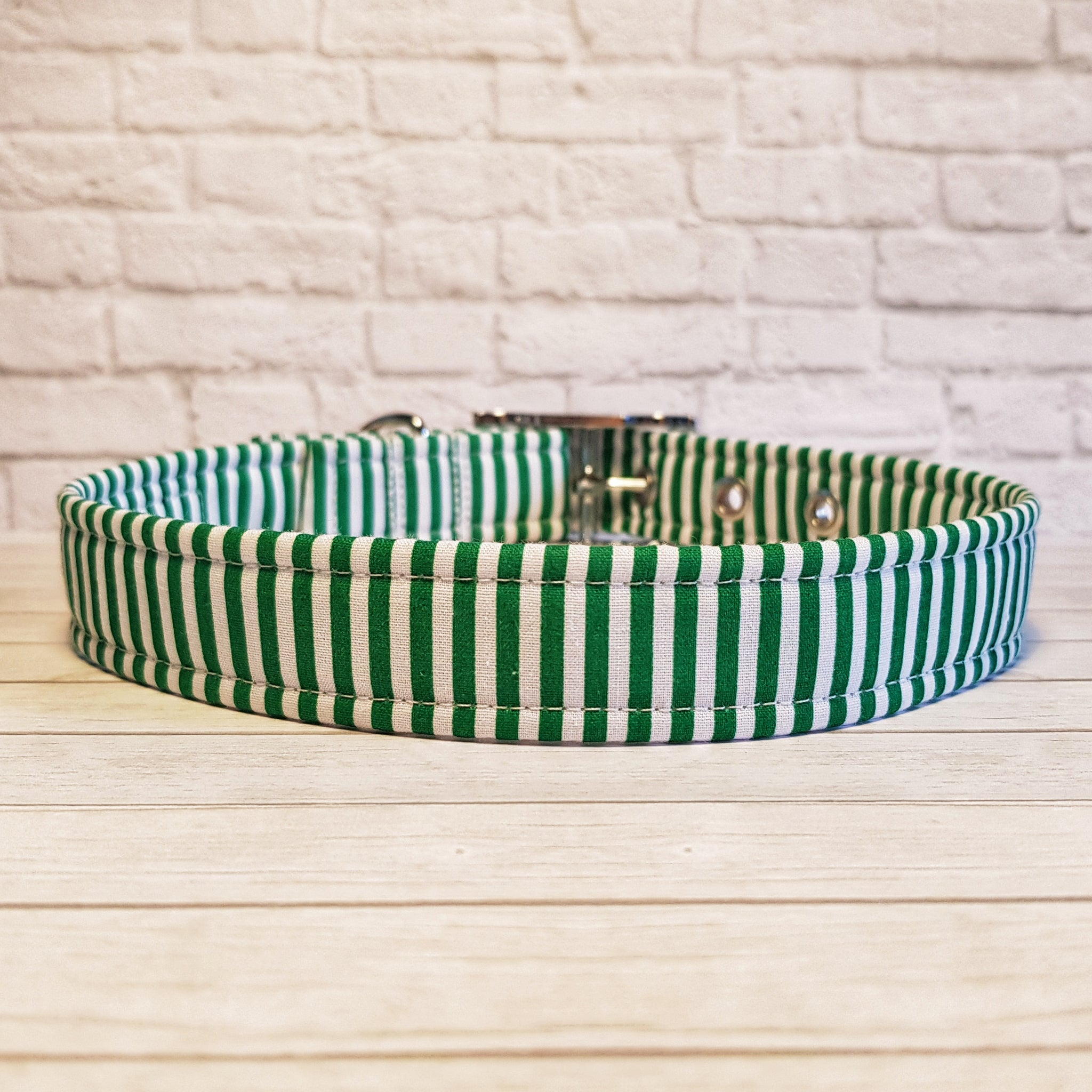 Green and White Stripe Dog Collar