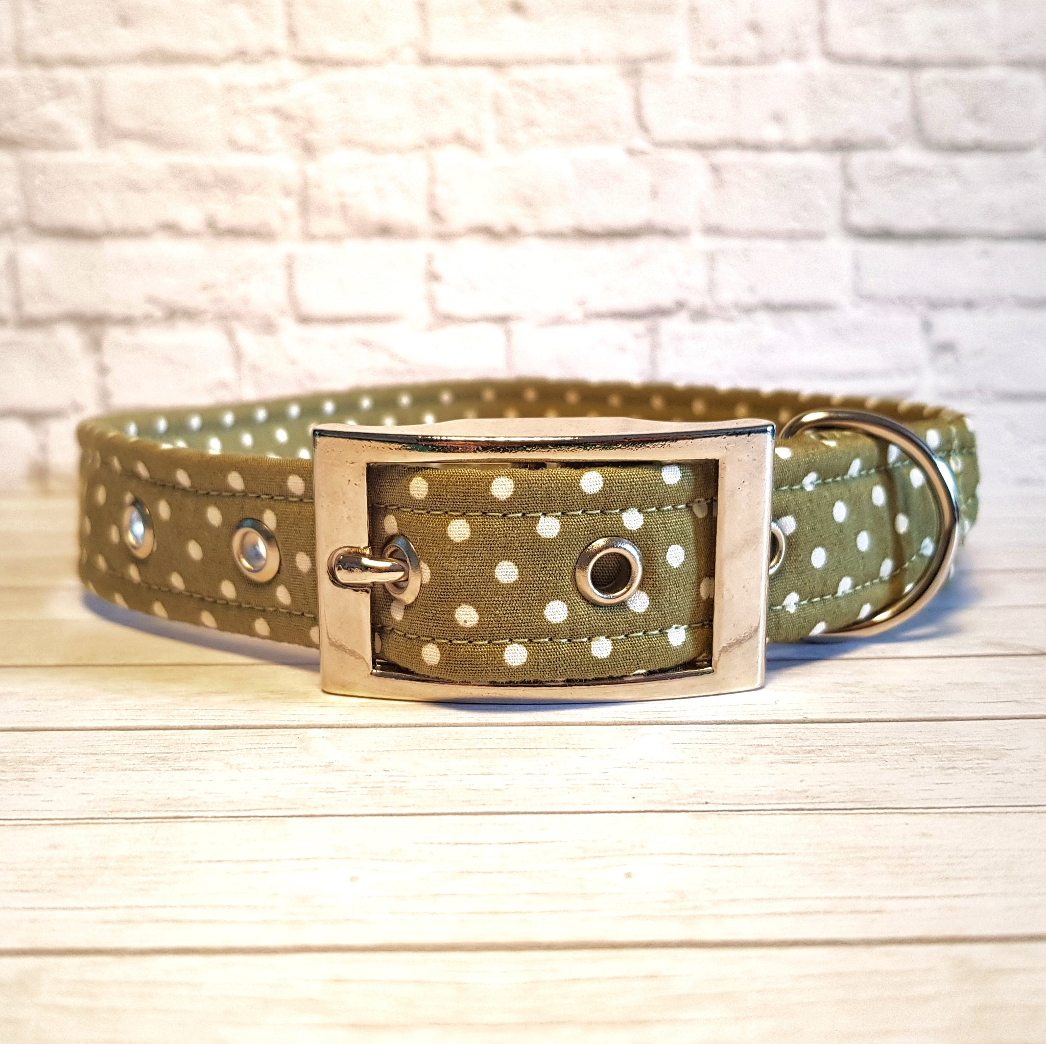 Olive Polka Dot Dog Collar