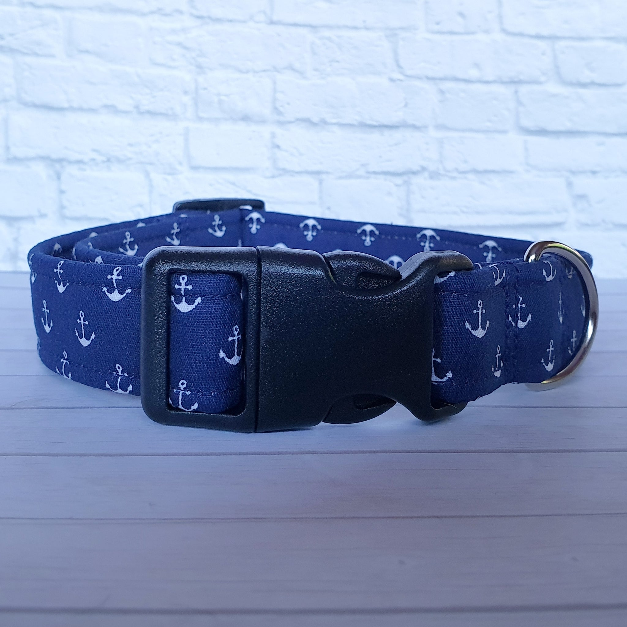 Navy Anchor Dog Collar