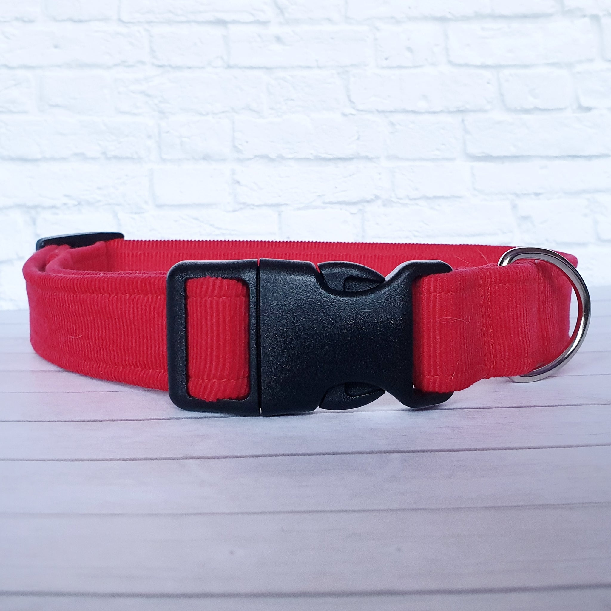 Red Corduroy Dog Collar