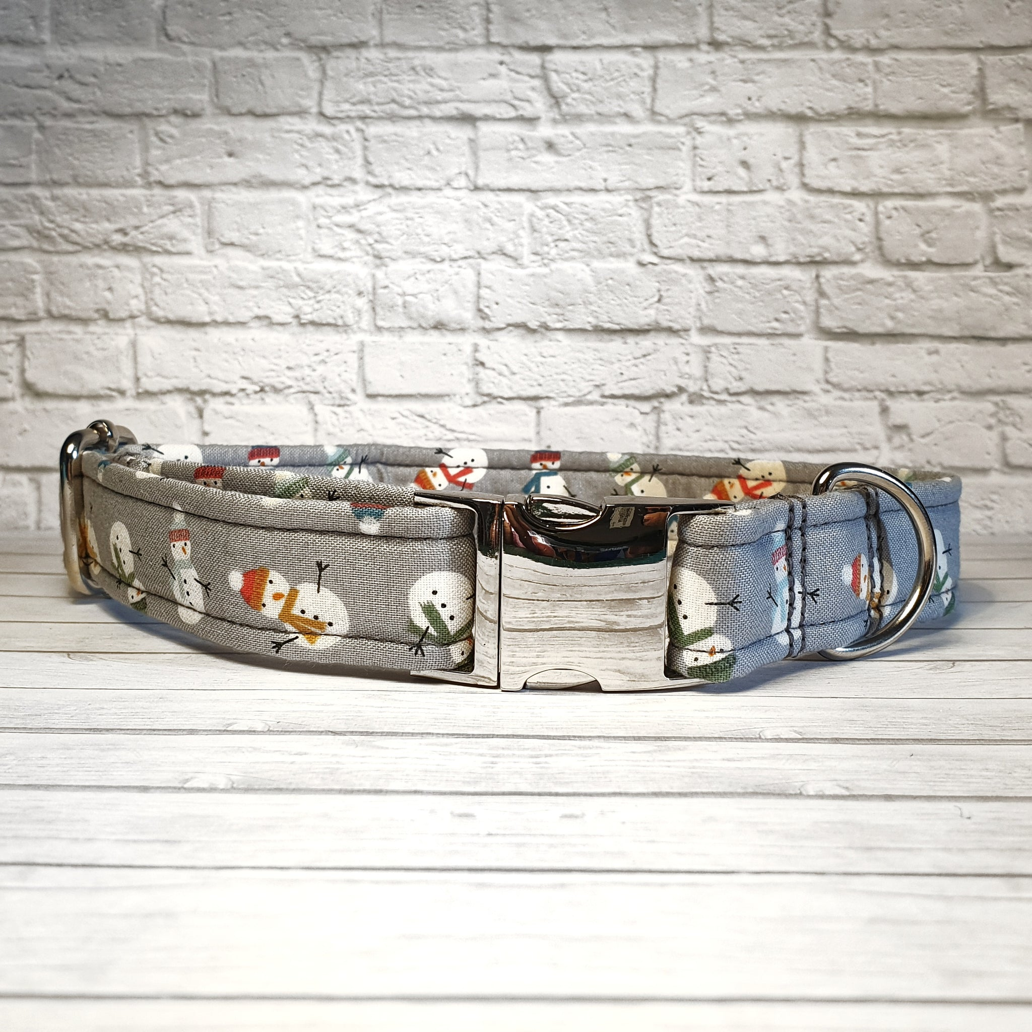 Grey Snowman Dog Collar