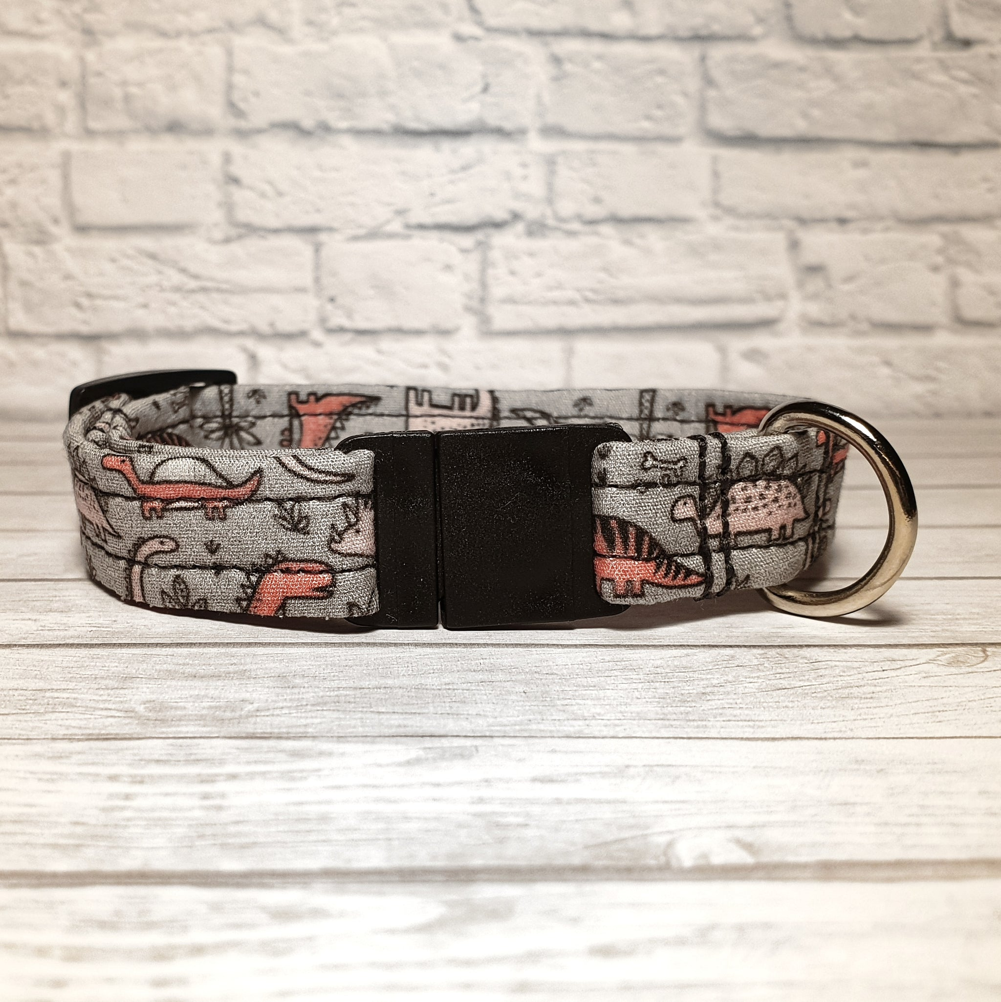 Grey with Pink Dinosaurs Cat Collar