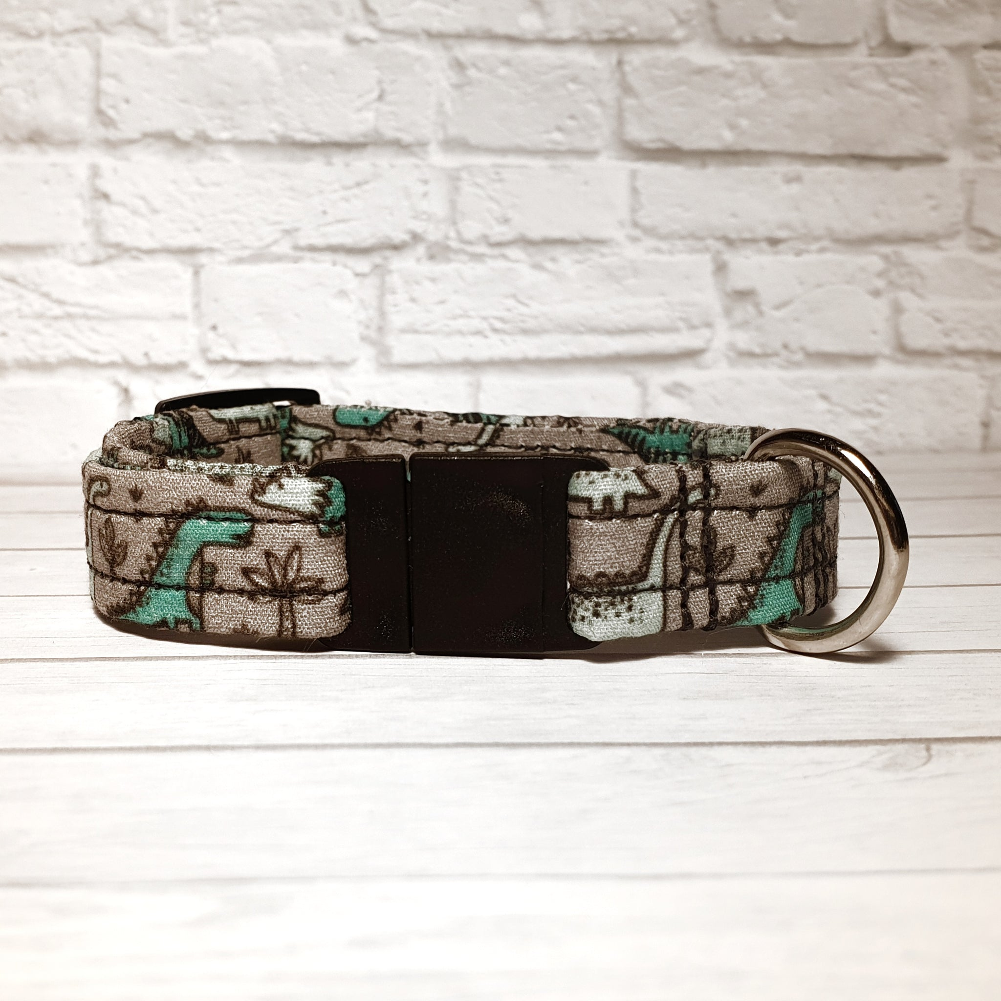 Grey with Green Dinosaurs Cat Collar