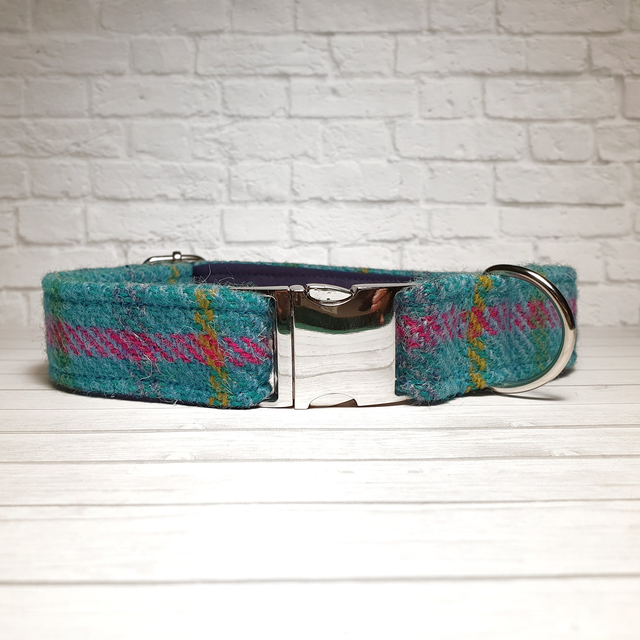 Blue Striped Harris Tweed Dog Collar