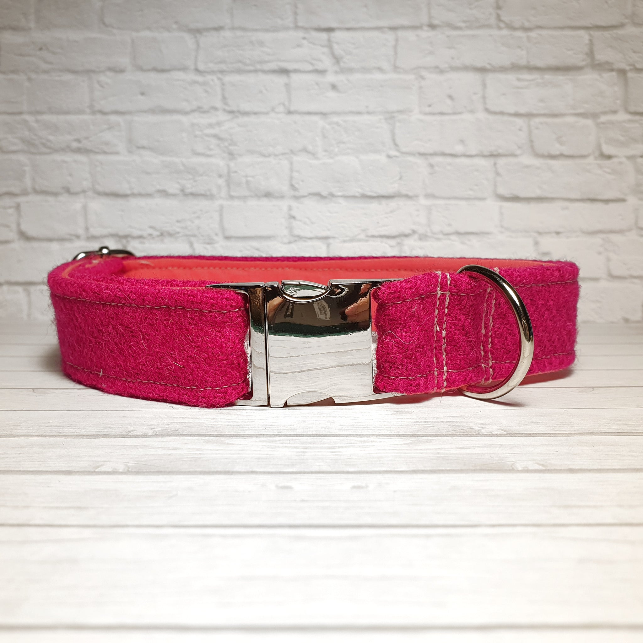 Pink Harris Tweed Dog Collar