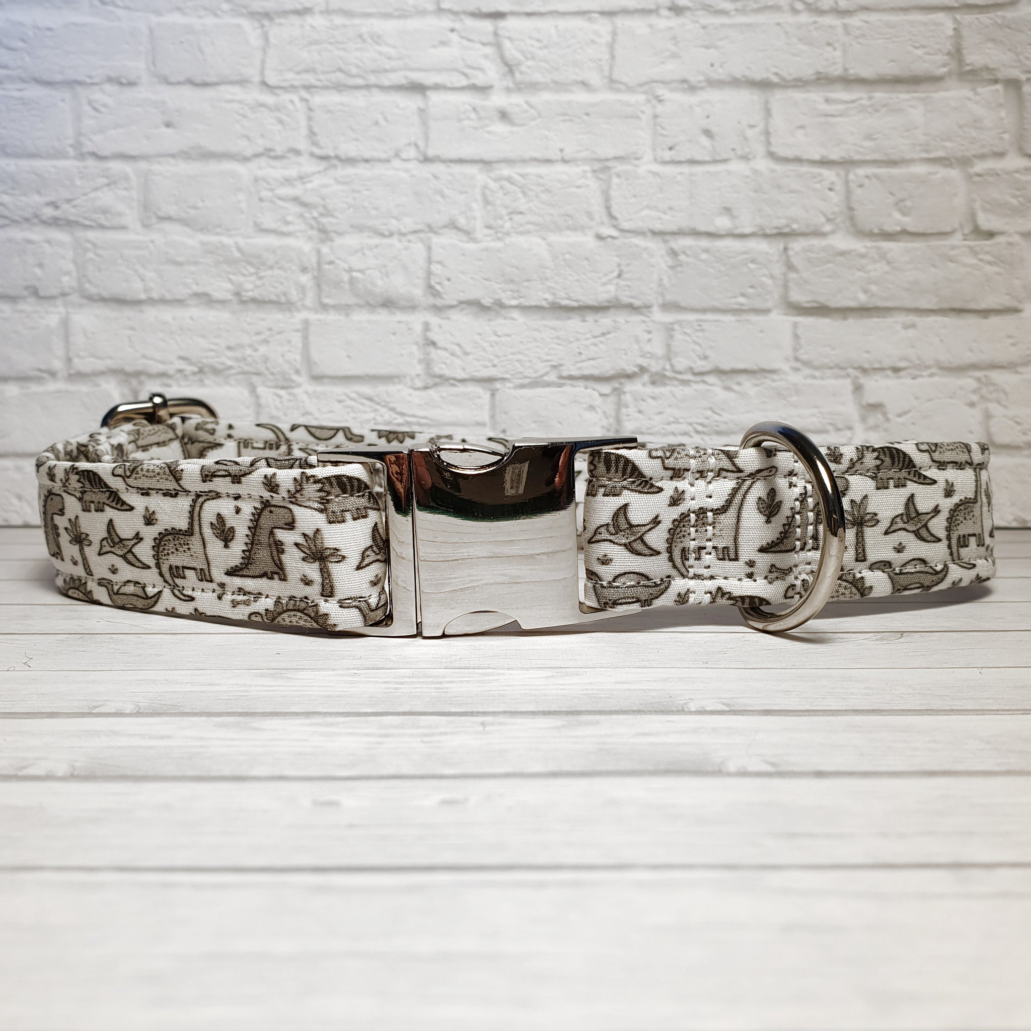 White with Grey Dinosaurs Dog Collar
