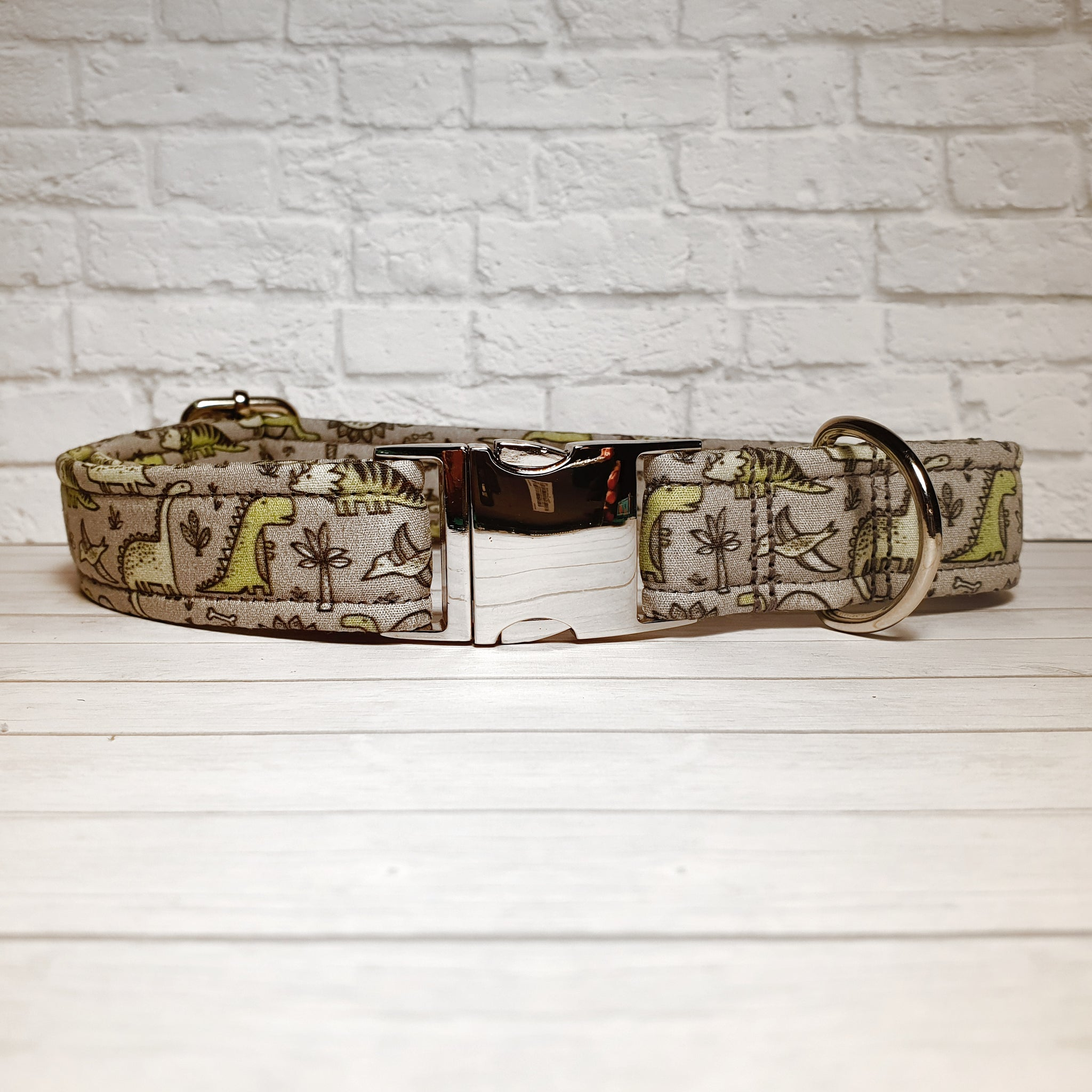 Grey with Olive Dinosaurs Dog Collar