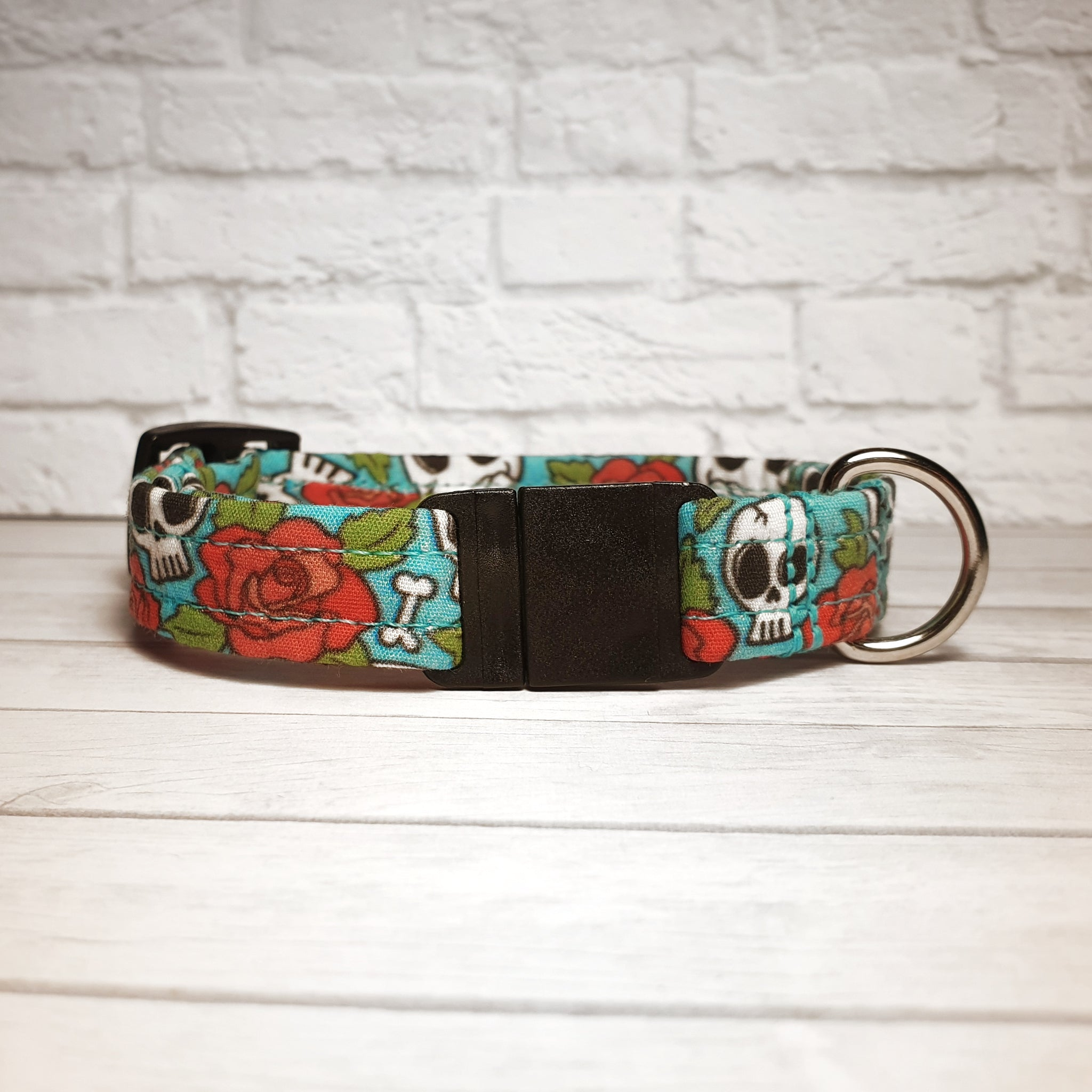 Blue Skulls and Roses Cat Collar