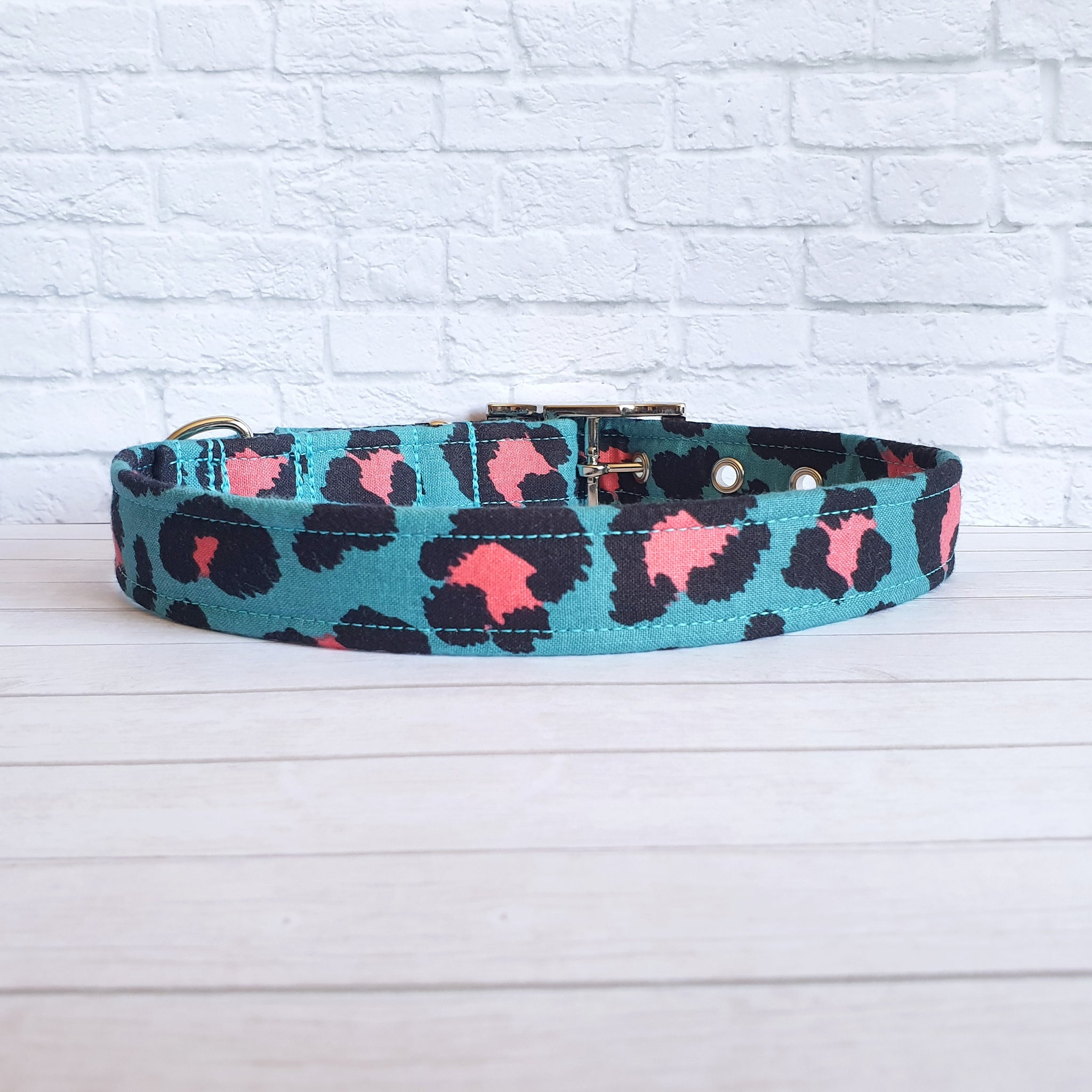 Teal and Pink Leopard Print Dog Collar