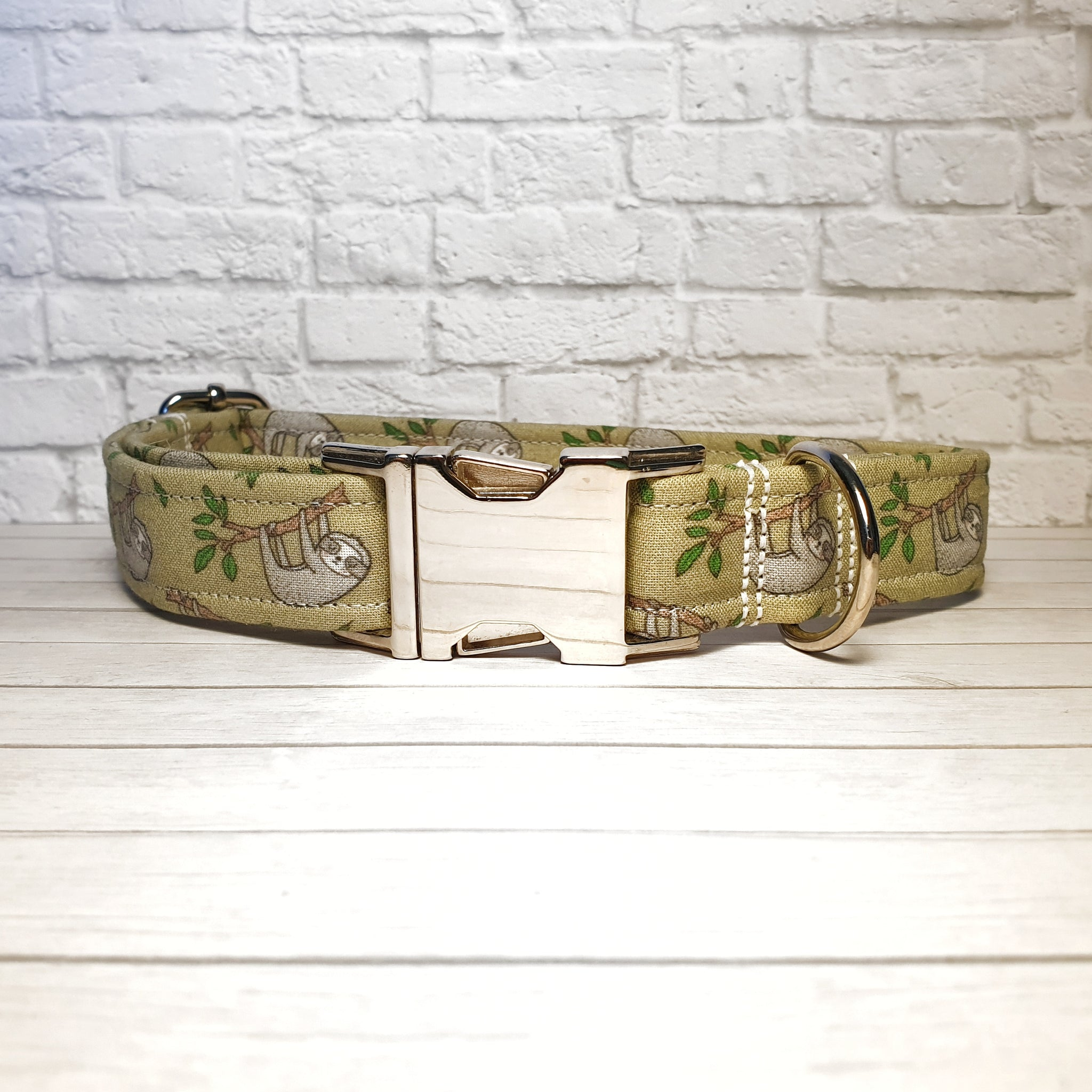 Olive Sloth Dog Collar