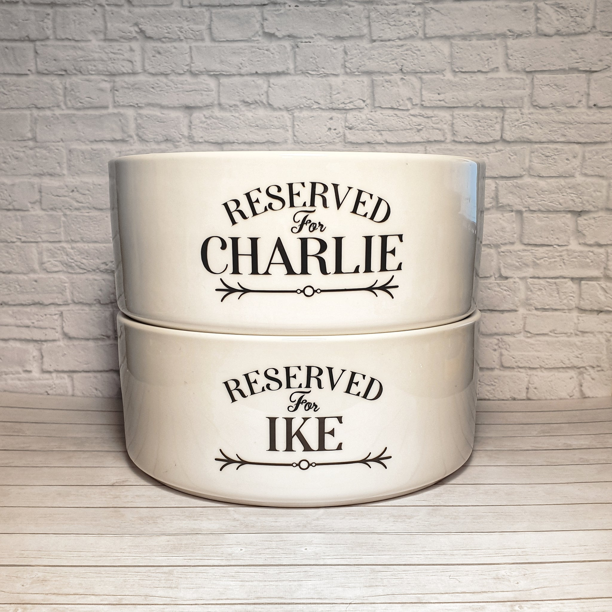 "Personalised Dog Bowl – Reserved for ""Your pets name"""