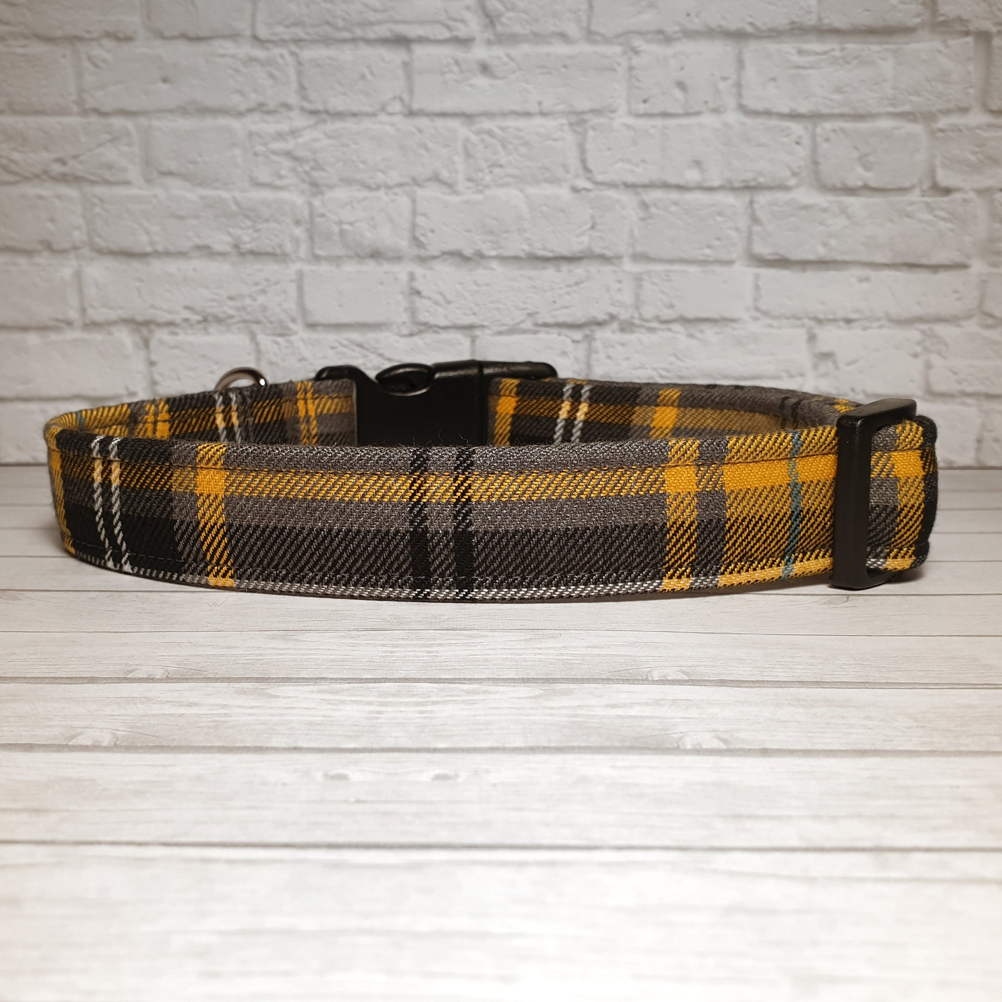Yellow and Grey Tartan Dog Collar