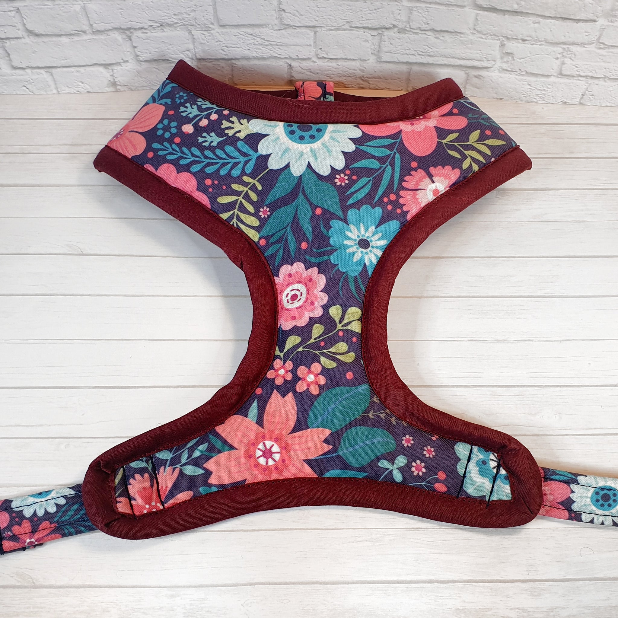 Navy and Pink Floral Vest Harness