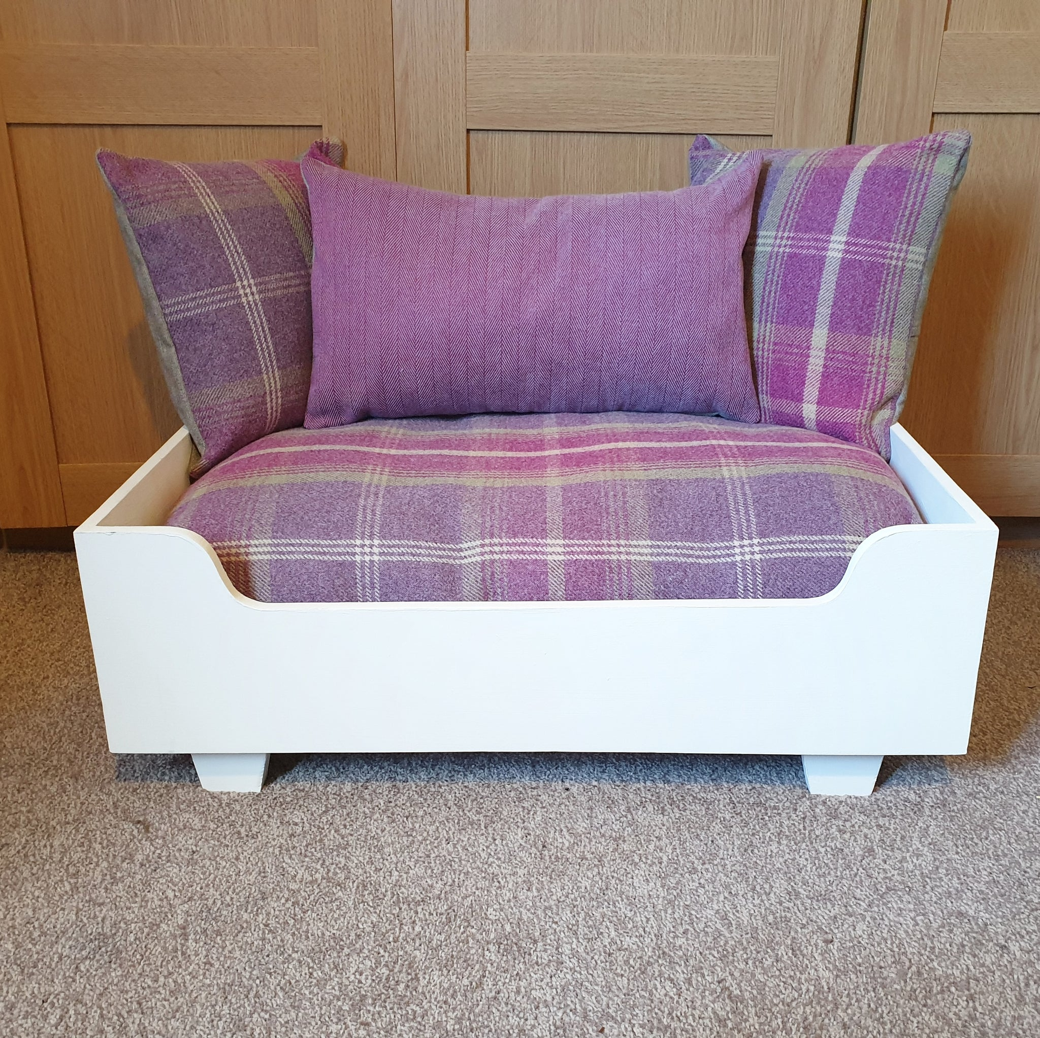 Handmade Dog Bed - Cream Frame with Pink Tartan Mattress and Pillows + pink herringbone centre pillow