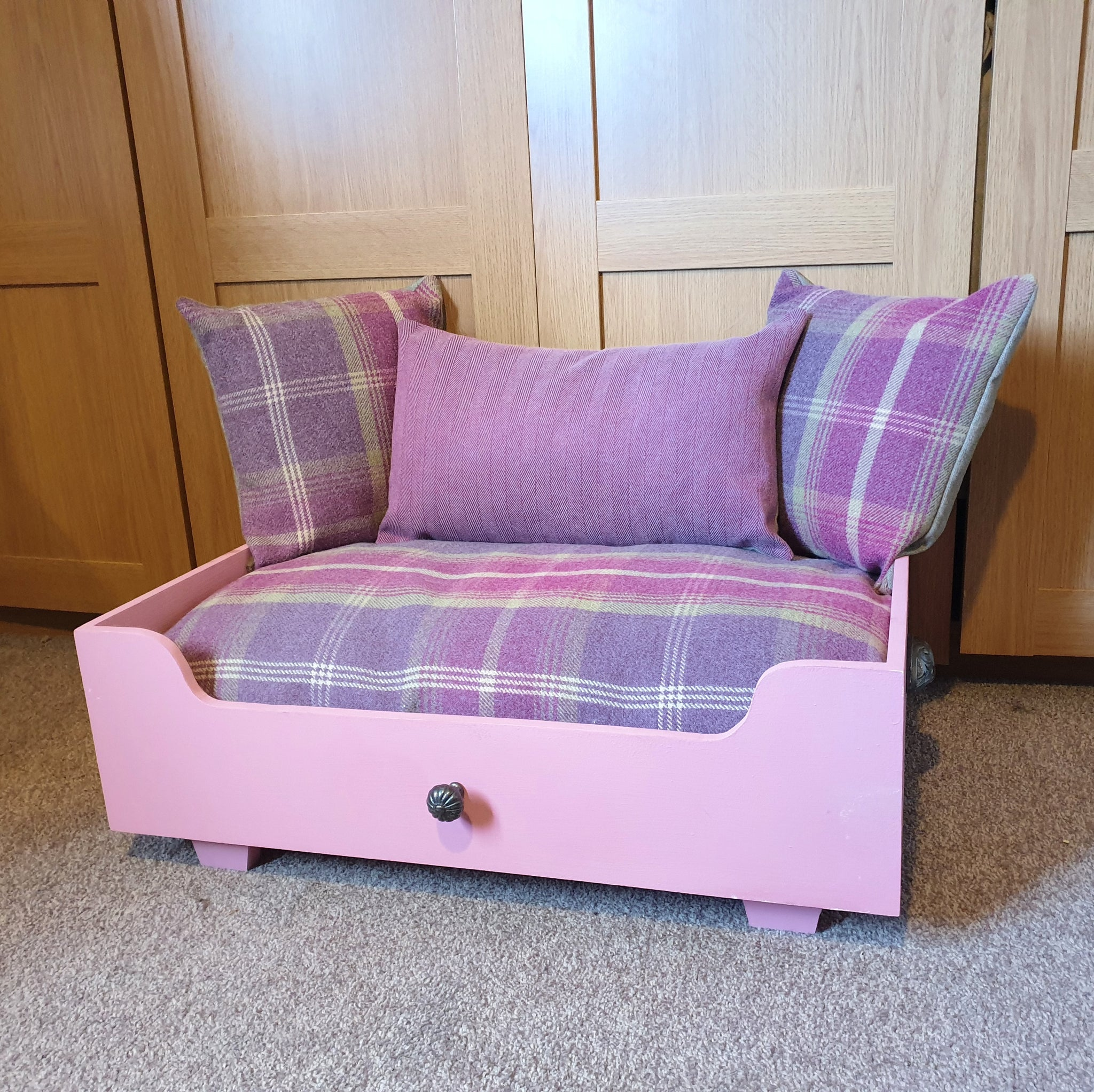 Handmade Dog Bed - Pink Tartan and herringbone