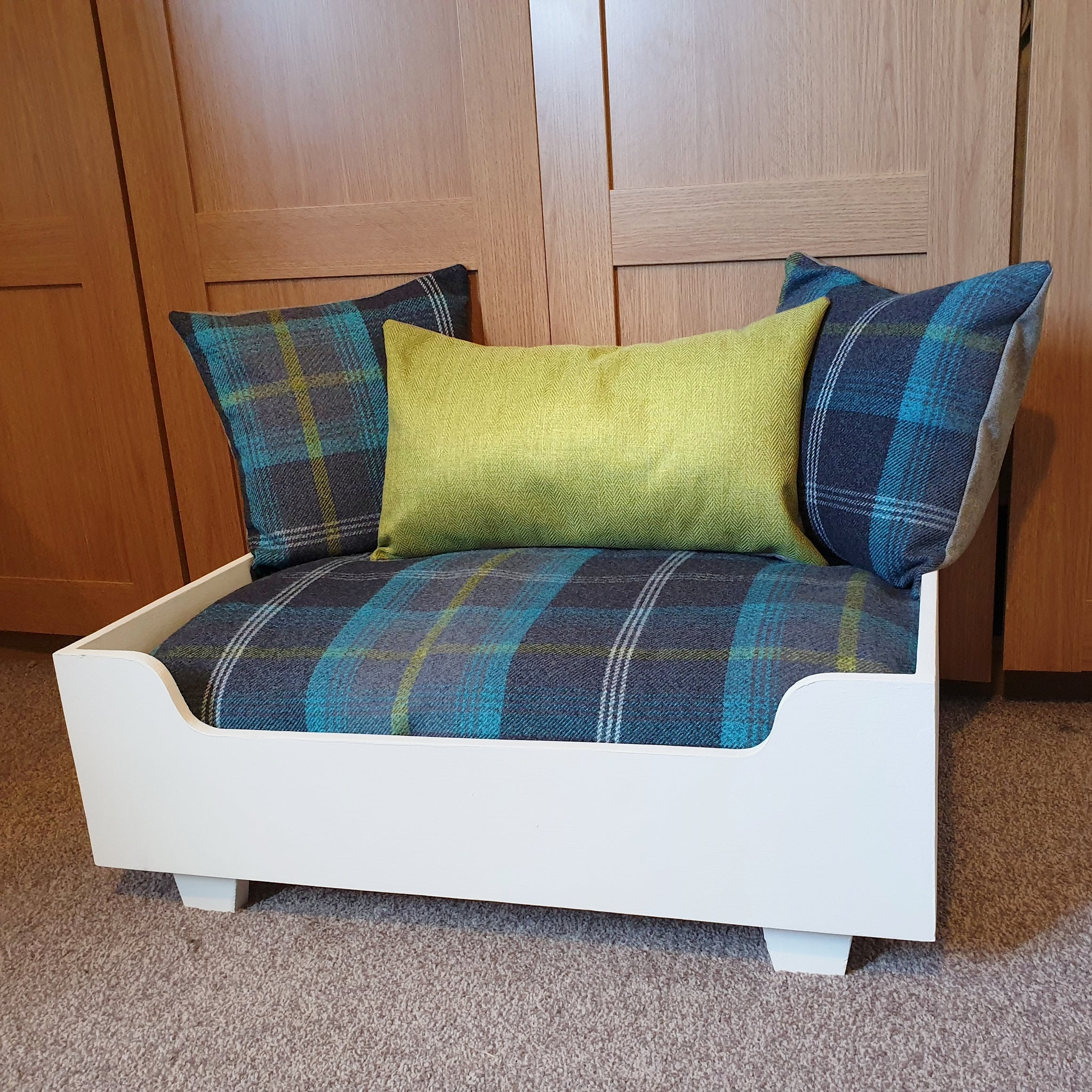 Handmade Dog Bed - Cream frame with blue tartan mattress and pillows + green herringbone centre pillow
