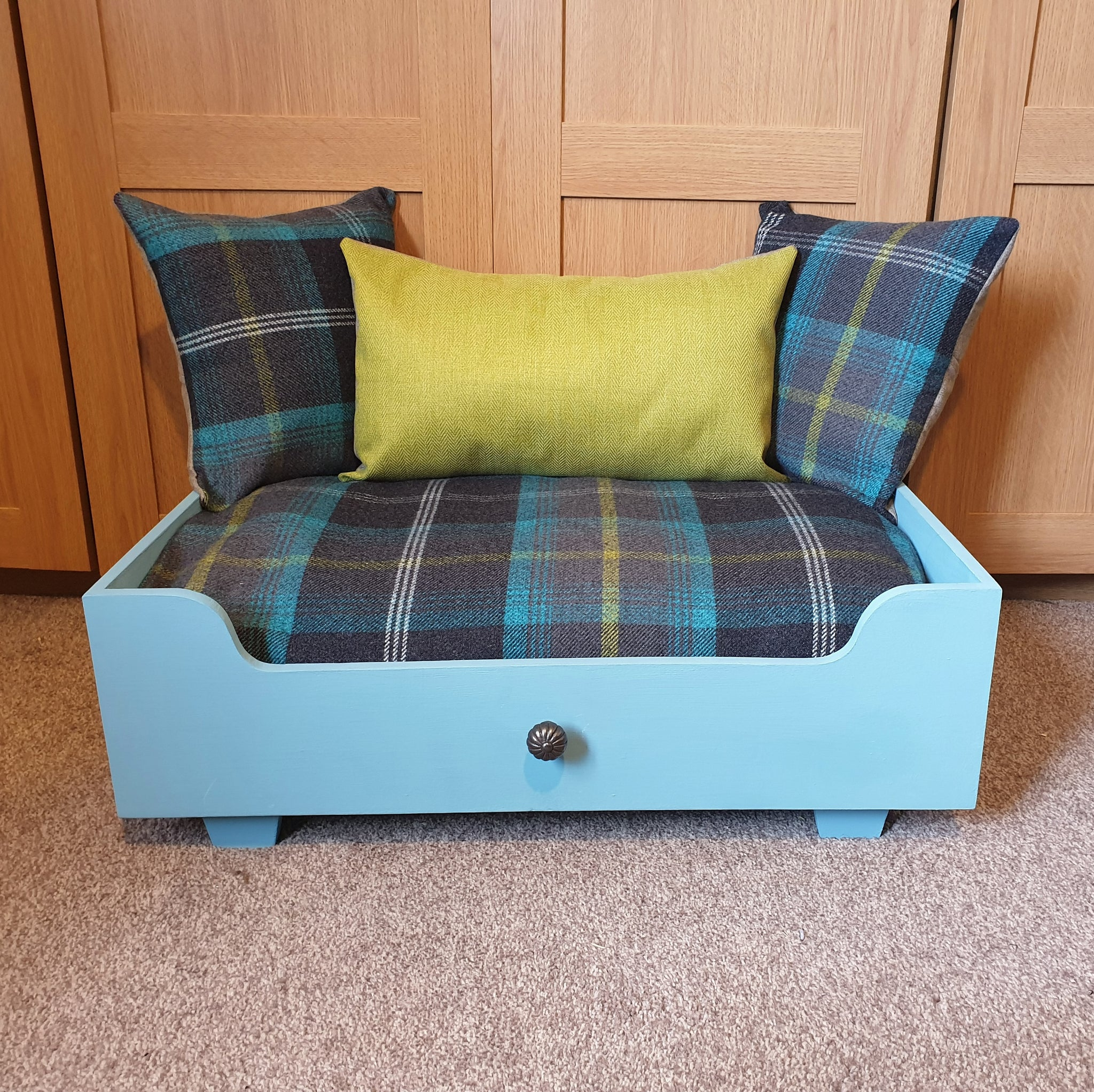 Handmade Dog Bed - Belgrave blue frame with blue tartan mattress and pillows + green herringbone centre pillow
