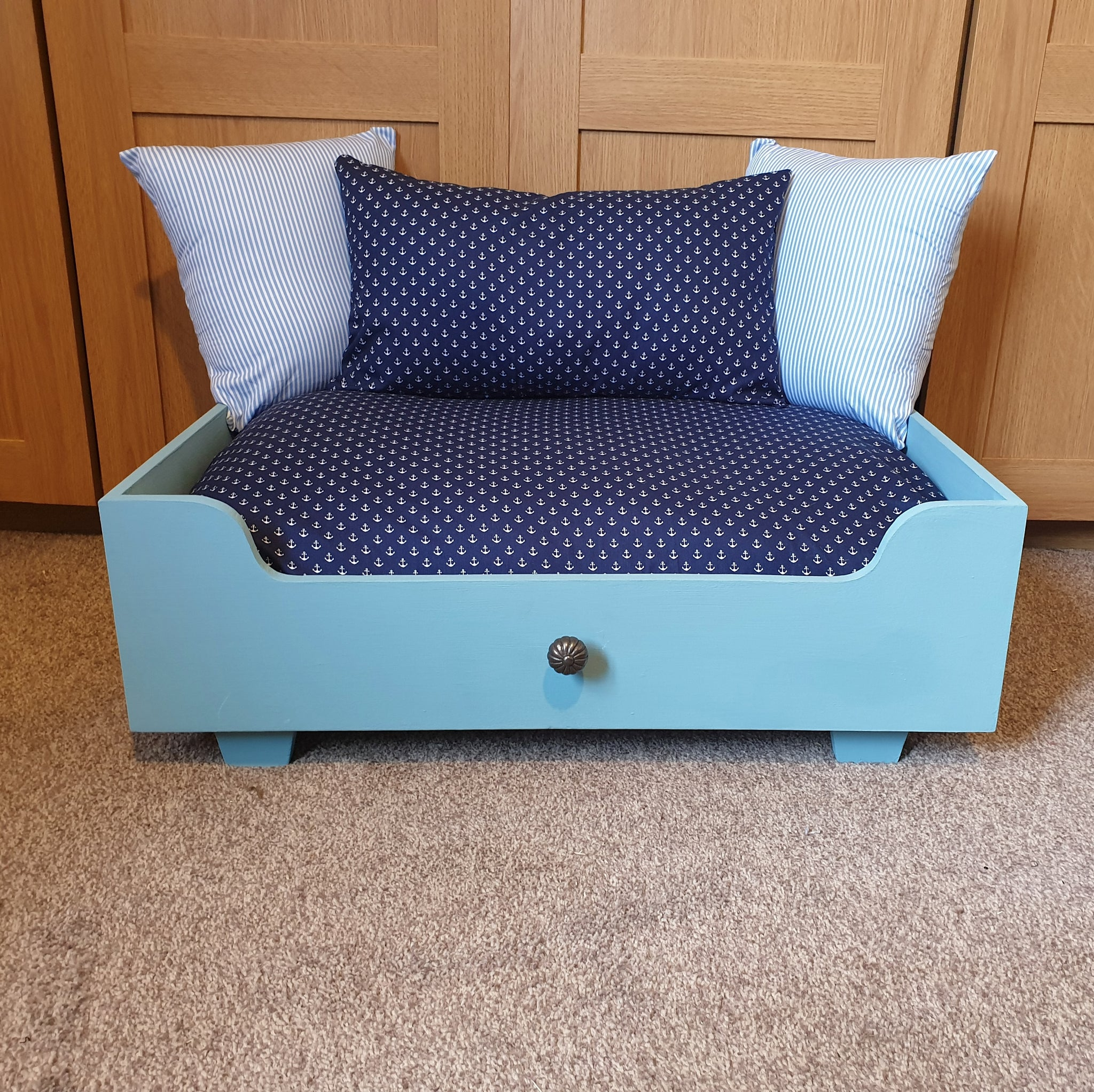 Handmade Dog Bed - Belgrave blue frame with NAVY ANCHOR MATTRESS AND CENTRE PILLOW + BLUE STRIPED PILLOWS