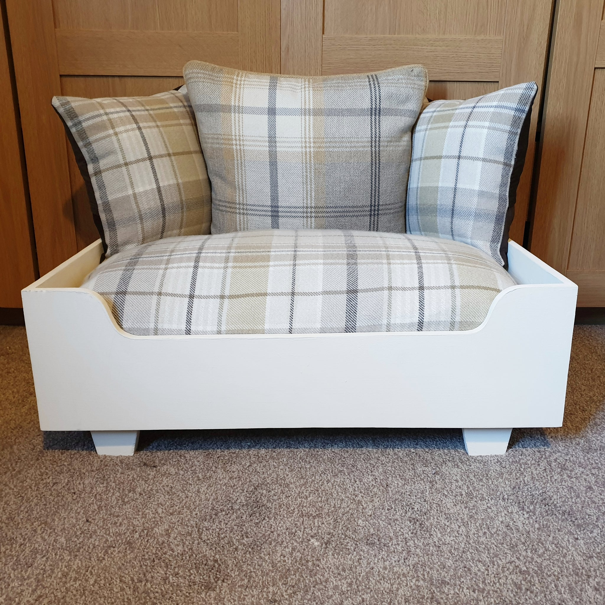 Dog Bed - Cream frame with cream and ochre tartan mattress and pillows