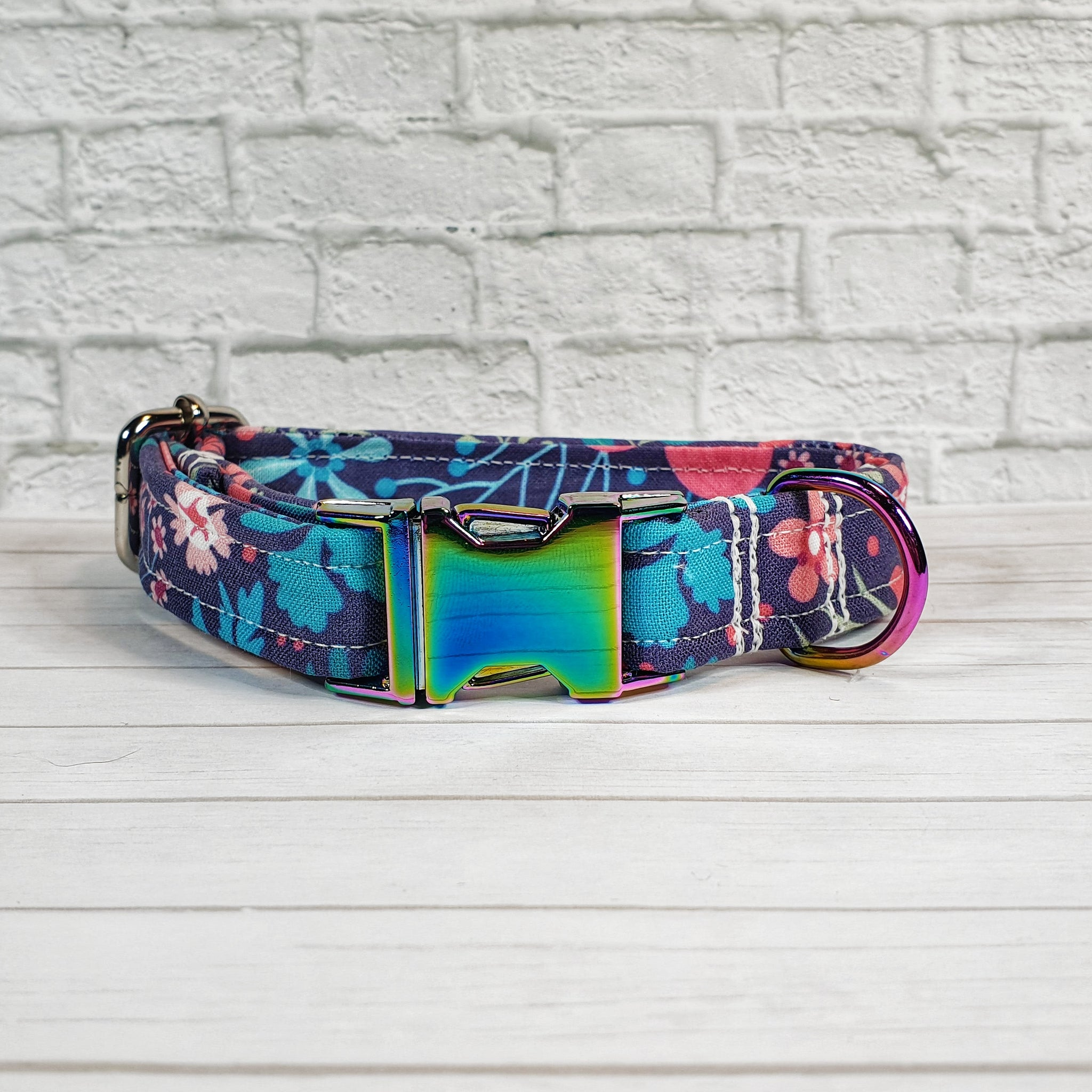 Navy and Pink Floral Dog Collar