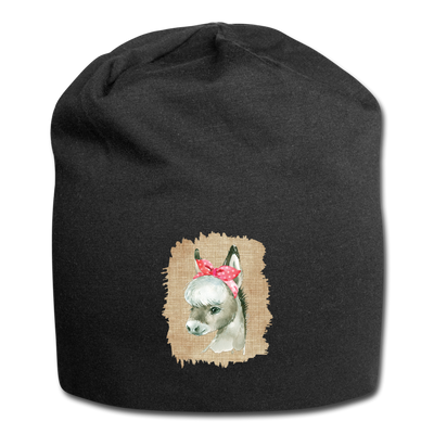 Cute Donkey with bow Jersey Beanie - black