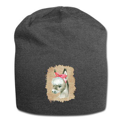Cute Donkey with bow Jersey Beanie - charcoal gray