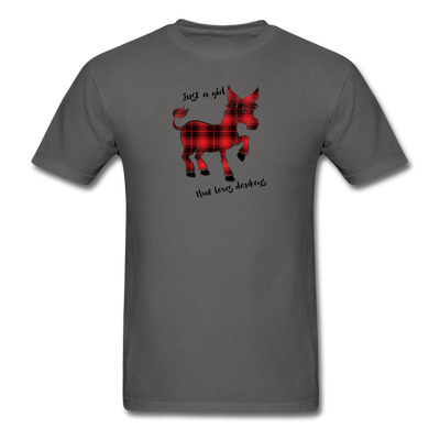 Buffalo Plaid Donkey Shirt - Just A Girl That Loves Donkeys - charcoal