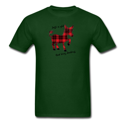Buffalo Plaid Donkey Shirt - Just A Girl That Loves Donkeys - forest green